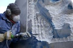 Marmorblock aus Carrara in Arbeit
